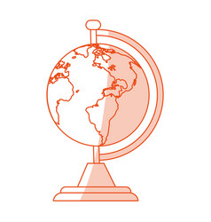 orange shading silhouette cartoon earth globe with vector image