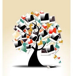 Retro family tree with polaroid photo frames vector image