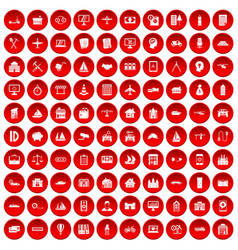 100 private property icons set red vector