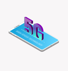 5g isometric mobile phone vector image