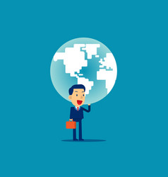 a man is holding up globe concept business vector image