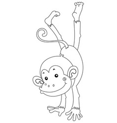 Animal outline for happy monkey vector