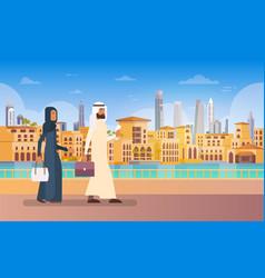 Arab couple walking dubai modern building vector