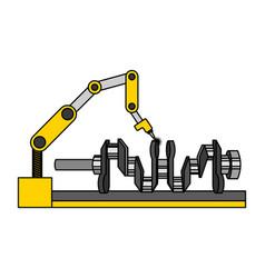Automotive part camshaft with robotic arm design vector