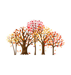 autumn background with stylized trees vector image