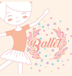 Beautiful ballerina ballet stars emblem vector