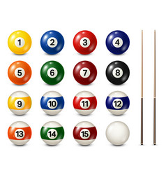 billiard pool balls with numbers collection vector image