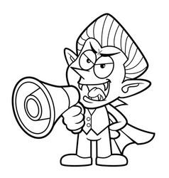 Black and white cartoon dracula mascot speaks vector