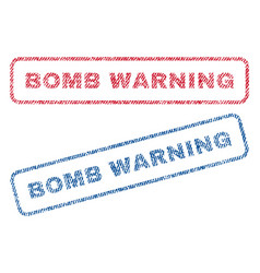 bomb warning textile stamps vector image