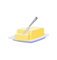 Brick Of Butter On Plate With Knife Milk Based vector