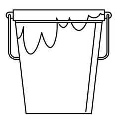 Bucket with glue icon outline style vector