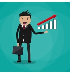 Businessman showing raising arrow growing graph vector