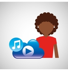 cartoon afro girl music cloud app vector image