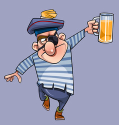 cartoon one-eyed man in a seamans clothes vector image