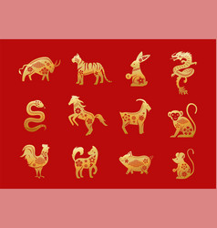 Chinese zodiac animals twelve asian new year vector