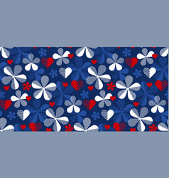 classic blue and red floral and heart pattern vector image