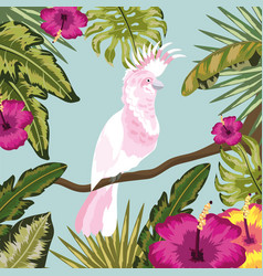 cockatoo with flowers and leaves plants background vector image