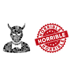 Collage devil with distress horrible seal vector