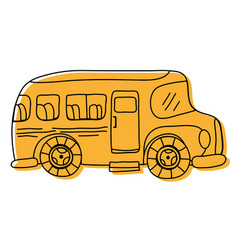color vehicle school bus education transportation vector image