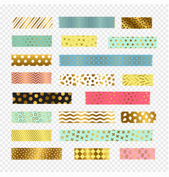 colorful golden washi tape strips vector image