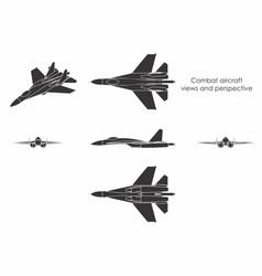 Combat aircraft black fill vector