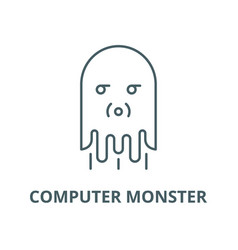 computer monster line icon computer vector image