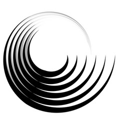 Concentric radiating circle graphics isolated on vector