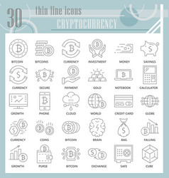 cryptoccurency thin line icon set bitcoin symbols vector image