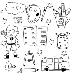 Cute hand drraw school doodles vector