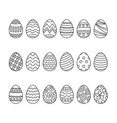 easter eggs set doodle style happy easter hand vector image