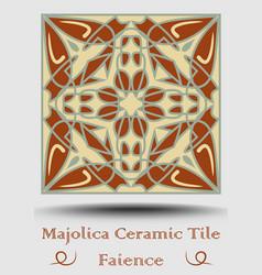 Faience tile ceramic tile in beige olive green vector