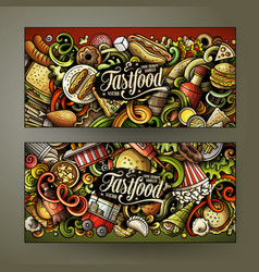 fast food hand drawn doodle banners set cartoon vector image
