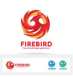 Fire bird logo phoenix bird brand identity vector