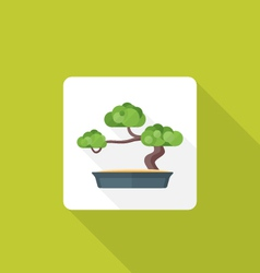 flat style bonsai icon with shadow vector image