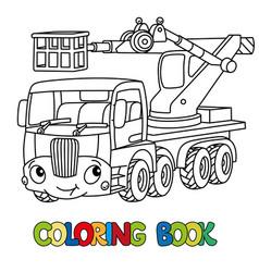 Funny telescopic boom lift car coloring book vector