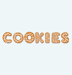 gingerbread cookies letter concept covered in ice vector image