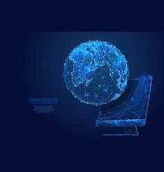 global world and monitor screen low poly blue vector image