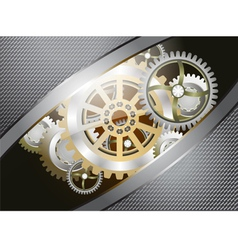 Glossy metallic gears vector image