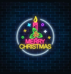 Glowing neon christmas sign with holly and xmas vector