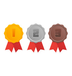 Gold silver bronze medal 1st 2nd and 3rd places vector