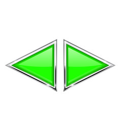 Green triangle buttons with metal frame vector