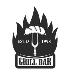 Grill bar fork with sausage design element for vector