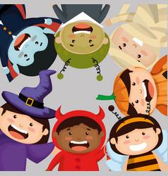 Group of children dressed up in halloween vector