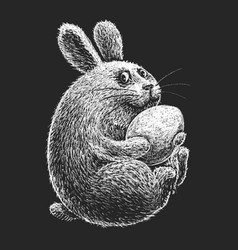 hand drawn cartoon easter bunny with egg on black vector image