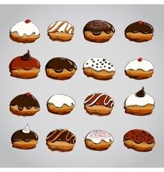 Hanukkah donuts set vector