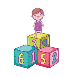 happy childrens day little boy standing on cubes vector image