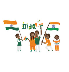Indian people holding and waving tricolor flags vector