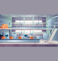 Industry production plant interior cartoon vector