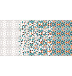 Islamic arabic mosaic repeating border vector