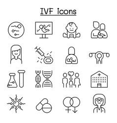Ivf in vitro fertilization icon set in thin line vector